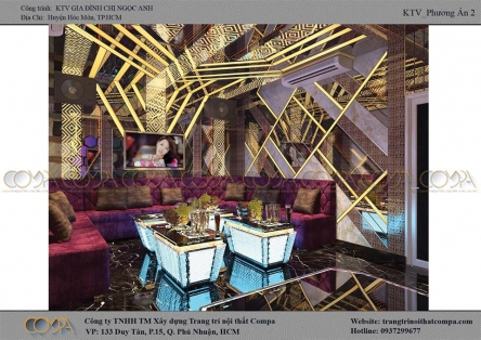 Thi công phòng karaoke gia đình hiện đại - Phòng gia đình chị Ngọc Anh
