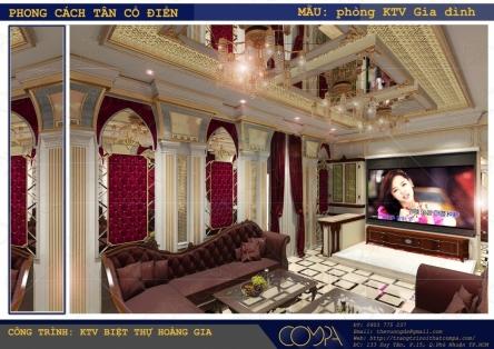 Thiết kế phòng karaoke gia đình phong cách cổ điển - Biệt thự Hoàng gia
