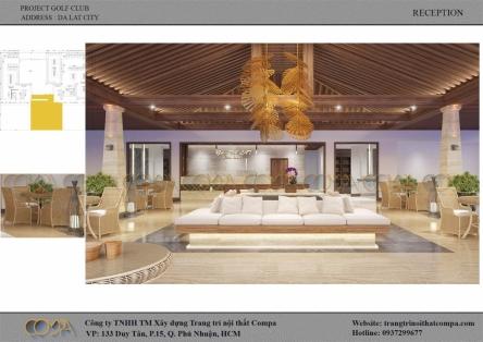 Thiết kế nội thất sảnh tiếp tân - Da Lat at 1200 Golf Club