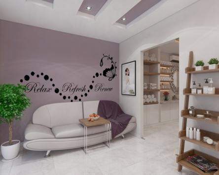 Thiết kế nội thất spa đẹp với không gian màu tím nhẹ nhàng - Vy Spa