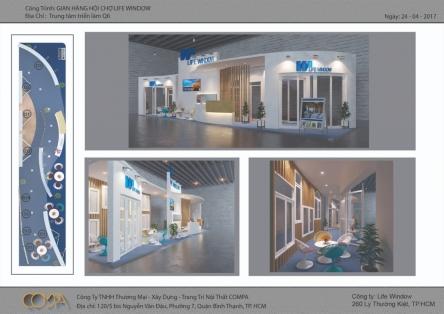 Thiết kế gian hàng hội chợ Vietbuild 2017- Công ty cửa sổ cuộc sống